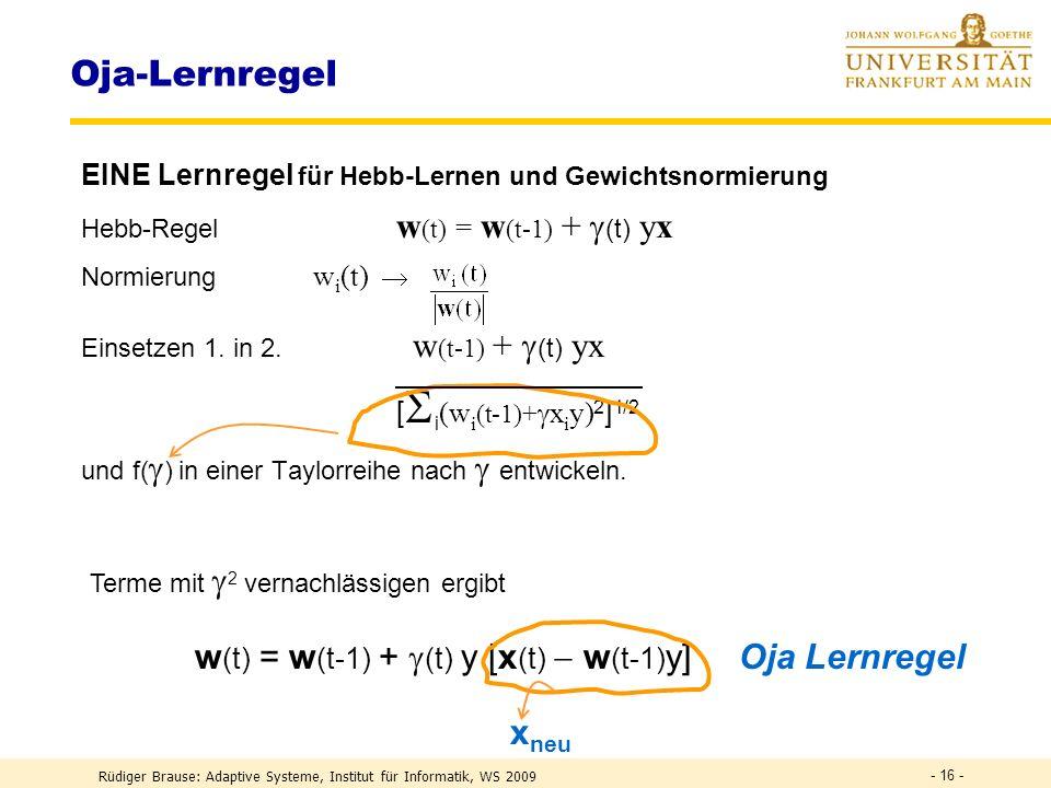Oja-Lernregel w(t) = w(t-1) + (t) y [x(t)  w(t-1)y] Oja Lernregel